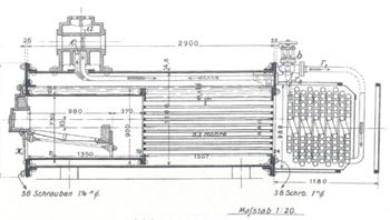 Die Geschichte des TÜV AUSTRIA: Die Dampfmaschine: Zur Bescheinigung: Dampfkessel von 19,43 qm Heizfläche, 12 Atm. Ueberdruck No. 16107