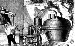"""Die Artillerie-Zugmaschine """"Fardier"""" des Nicholas Cugnot, Quelle: Wikipedia"""