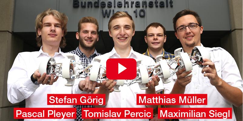 Matthias Müller, Maximilian Siegl, Pascal Pleyer, Stefan Görig, Tomislav Percic HTL Wien 10 Diplomarbeit 'Project Worm – Technik, von der Natur inspiriert'