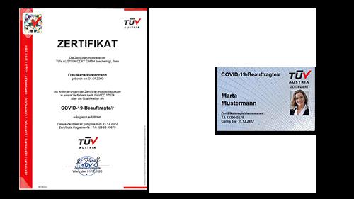 TÜV AUSTRIA Personzertifizierung: COVID-19 Beauftragte/r nach ISO/IEC 17024 (C) TÜV AUSTRIA