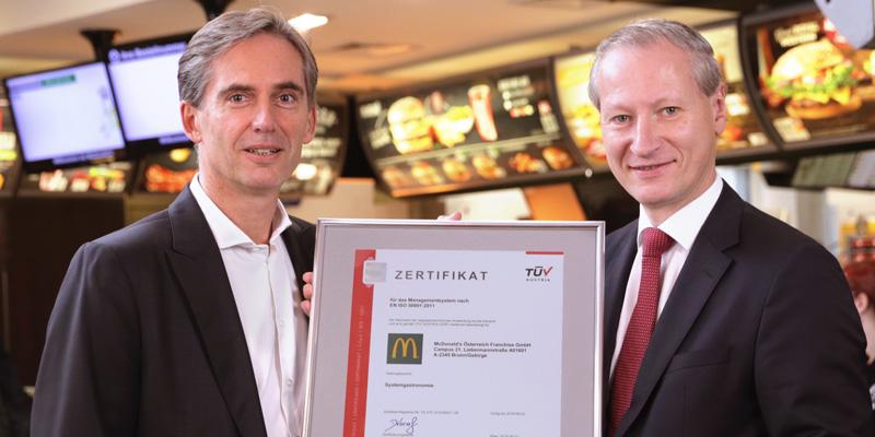 Gelebte Energieeffizienz: TÜV AUSTRIA zertifiziert McDonald's Österreich für Energie-Managementsystem EN ISO 50001