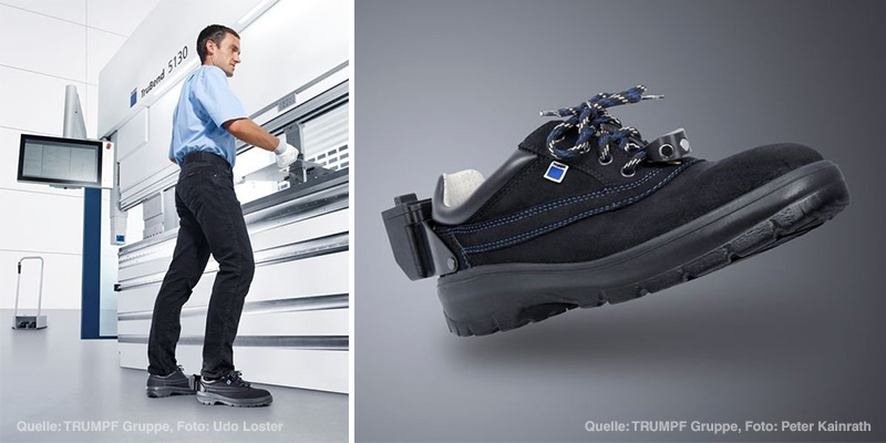 "TÜV AUSTRIA certifies Trumpf's ""Magic Shoe"": Alternative to the mechanical footswitch has been developed, Source: Trump Group, Photo: U.Loster (l), P.Kainrath (r)"